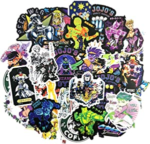 50Pcs JoJo's Bizarre Adventure Stickers Set Animated Cartoon Sticker Decals for Water Bottle Laptop Cellphone Bicycle Motorcycle Car Bumper Luggage Travel Case. Etc (JoJo's Bizarre Adventure)
