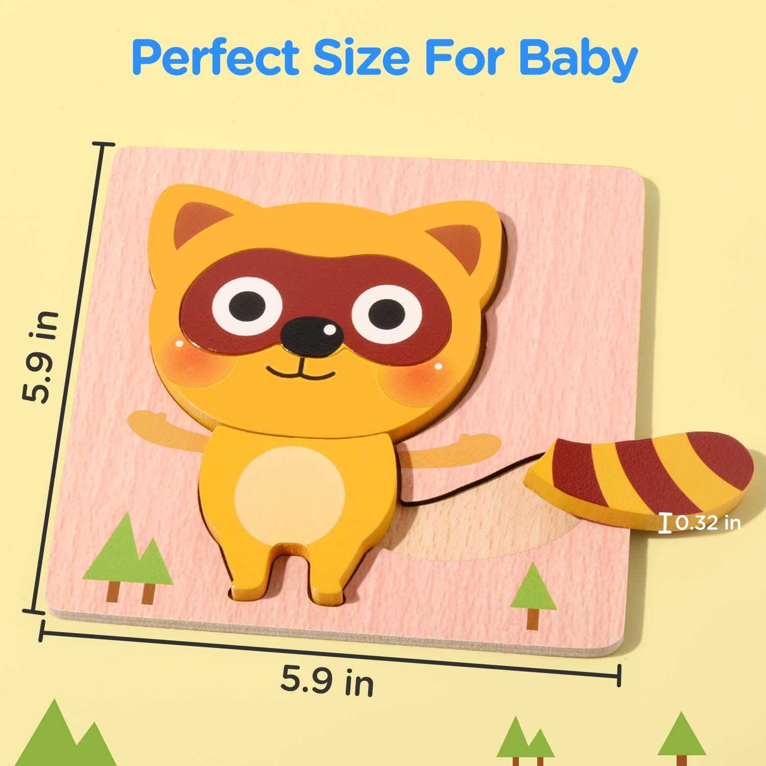 Joyjoz Wooden Jigsaw Puzzles 4 PCS Wooden Animals Montessori Toys with Storage Bag Educational Toys for 3 Year Olds Kids Boys Girls