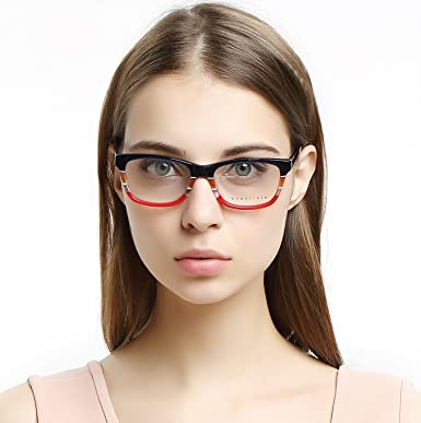 9700af95ef2 OCCI CHIARI Women Rectangle Striped Non-Prescription Eyeglasses With Clear  Lens (Blue Red