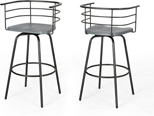 Christopher Knight Home Jasmine Industrial Modern 29 Swivel Barstool with Rubberwood Seat Set of 2 , Gray, Gray