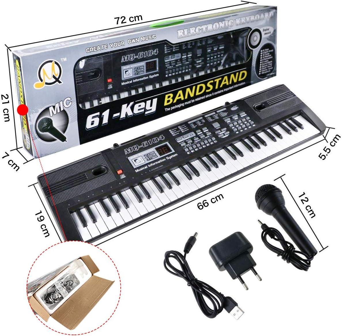 RenFox Teclado Electrónico Piano 61 Teclas, Teclado de Piano Portátil Con Micrófono, Fuente de Alimentación, Músical Digital, Educativa Regalo