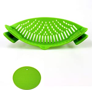 Clip-On Silicone Snap Strainer,Pasta Strainer for Spaghetti Pasta Ground Beef Grease for Most of Bowls and Pots,Food Grade Strainer,With 1pcs Hot Pads Heat-resistant (Green)