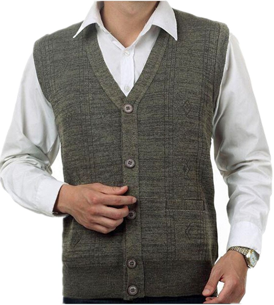 Mullsan Men's Lambswool V Neck Button Sweater Vest