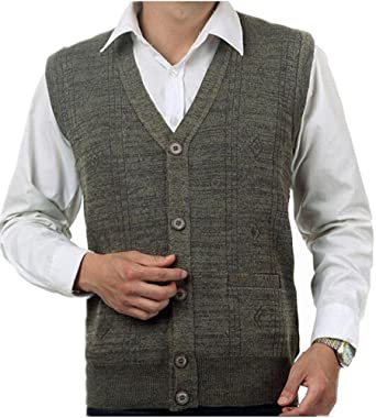 Mullsan Men's Lambswool V Neck Button Sweater Vest at Amazon Men's ...