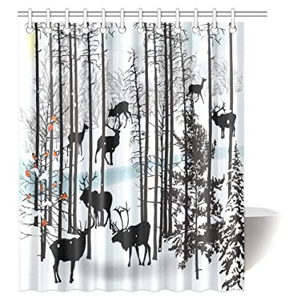 InterestPrint Winter Landscape Shower Curtain Scene With Deer Frozen Trees And Snow Christmas Season