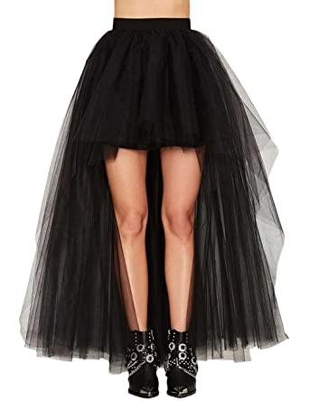 cf6fddc5b2 Gameyly Women's High Waist Maxi Skirt Front Short Long Back Tulle Tutu Skirt