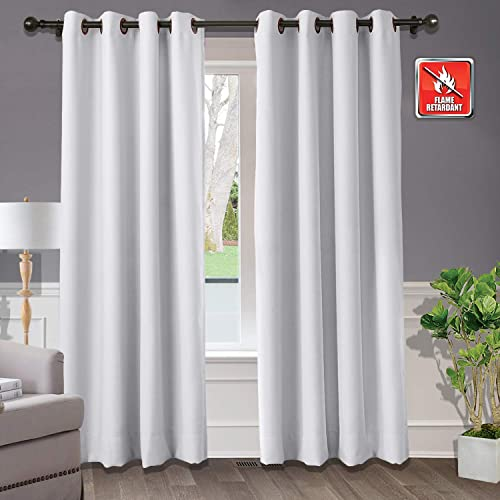 Macochico Extra Wide Blackout Flame Retardant Curtains and Drapes – Window Treatment Thermal Insulated Solid Grommet Draperies for Bedroom, Greyish White 150W x 102L Inch 1 Panel