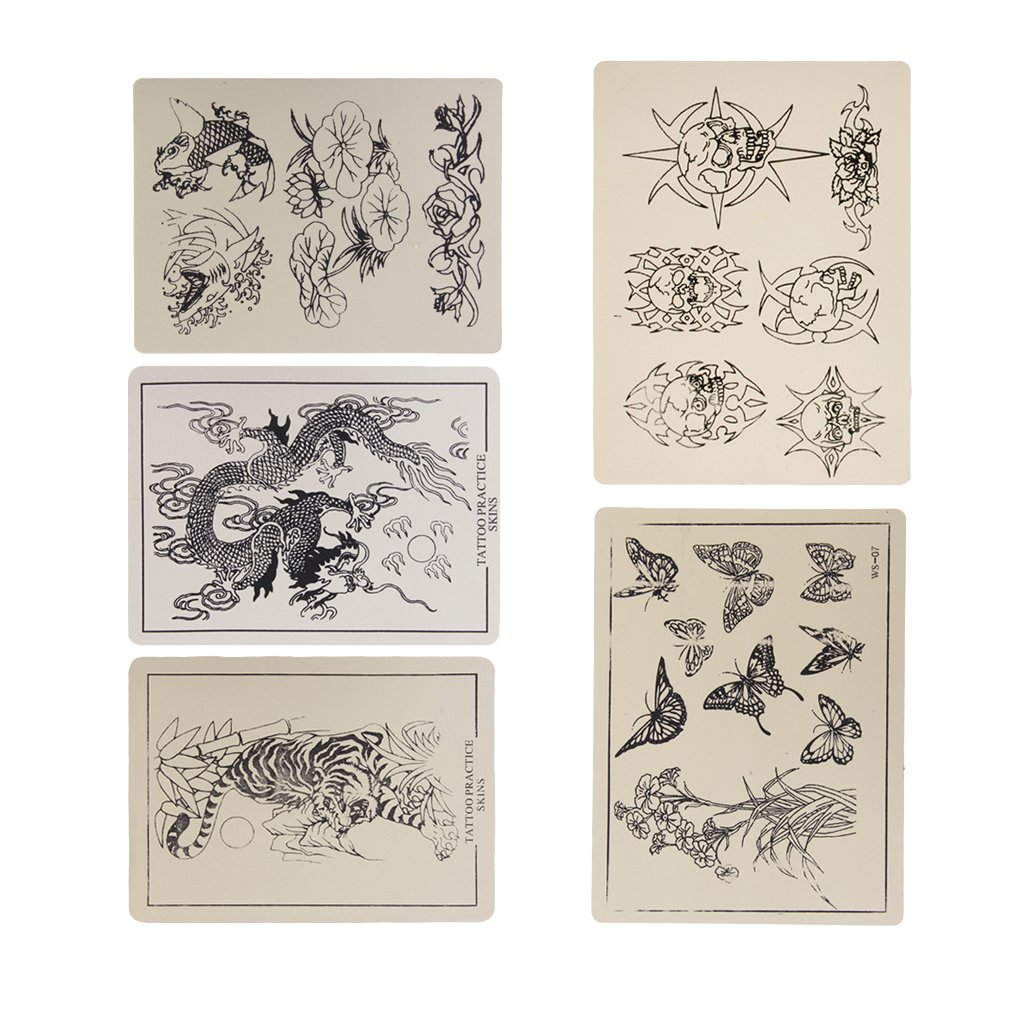 5 x Patterned Artificial Tattoo Practice Skin 5.86 x 7.87 Generic