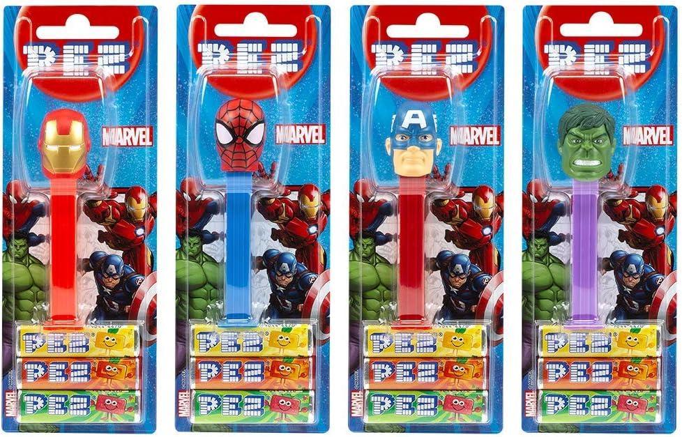 PEZ set de dispensadores Marvel (4 disp. con 3 recargas de caramelos PEZ de 8,5g c/u - 1 disp. PEZ 2 veces como sorpresa) + 2 paquetes de rec. (8 rec. de PEZ de 8,5g c/u)