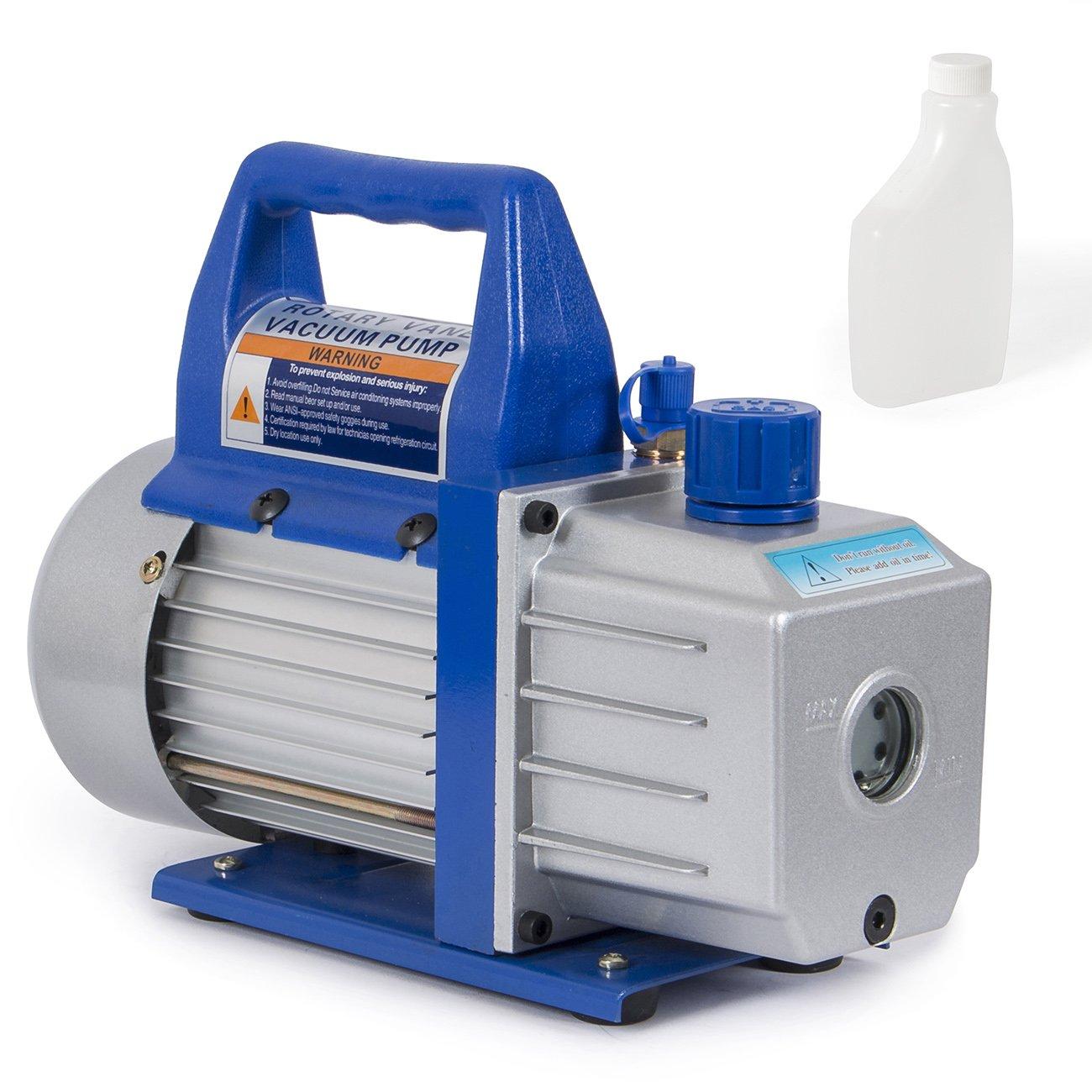 ARKSEN Single Stage, Rotary Vane Electric Vacuum Pump HVAC w/Vacuum Oil Bottle, 1/3 HP, 4-CFM, Black