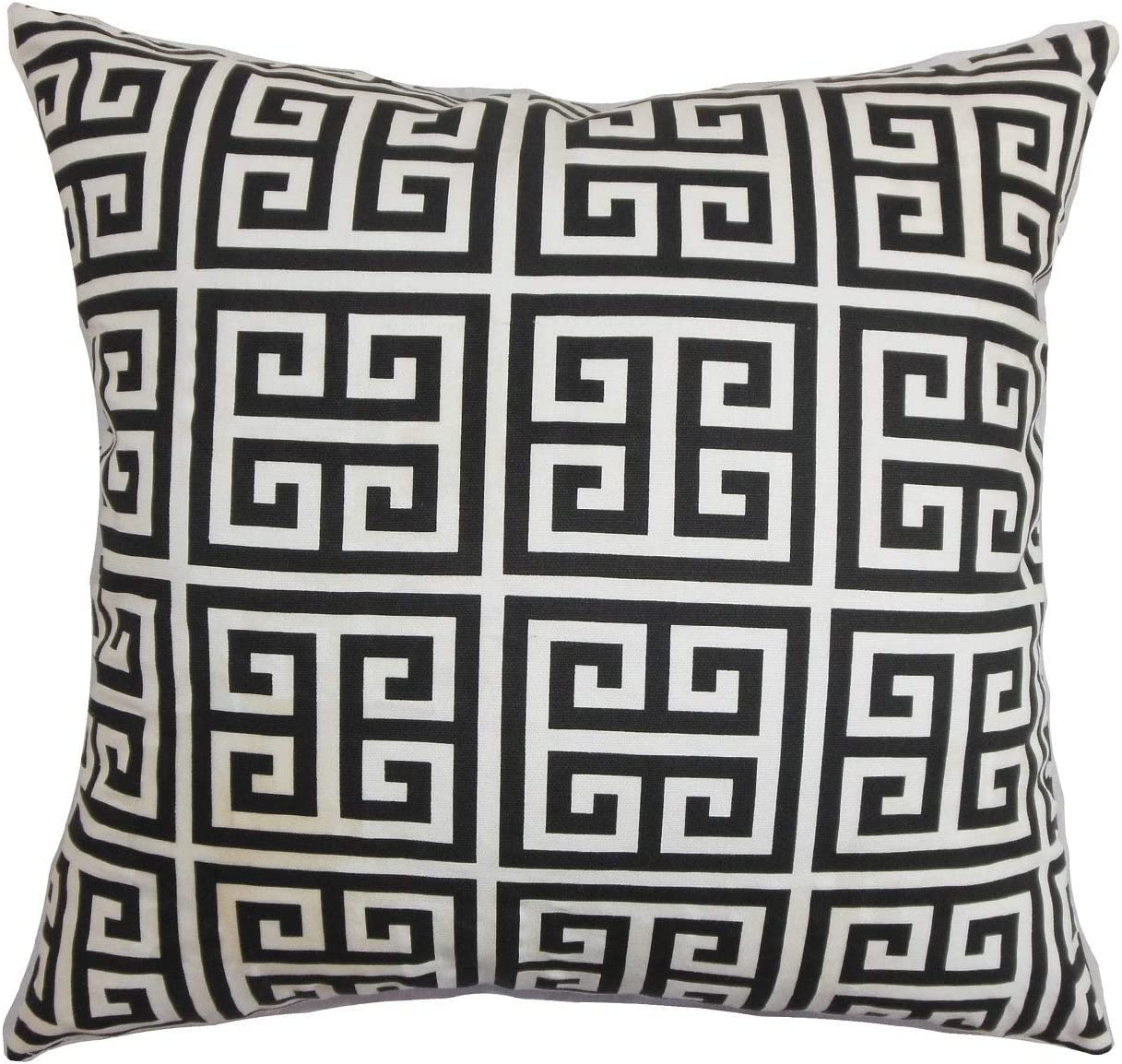The Pillow Collection Paros Greek Key Black White Down Filled Throw Pillow