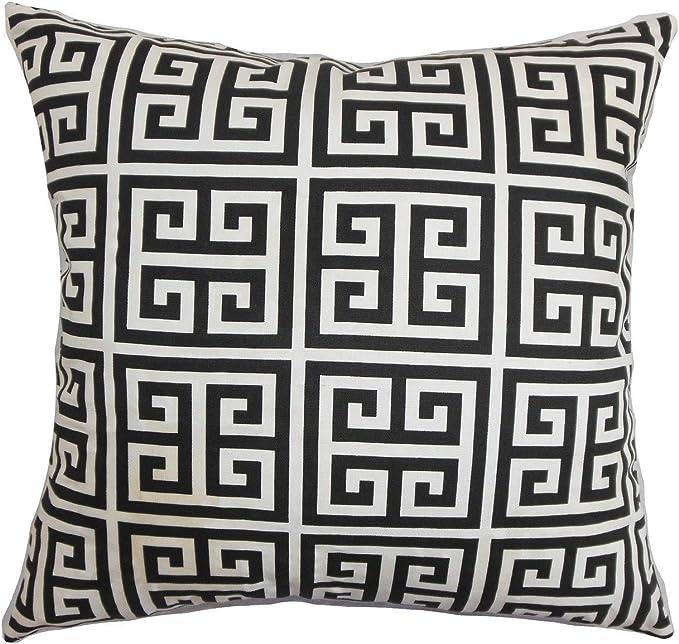 Amazon Com The Pillow Collection Paros Greek Key 24 X 24 Down Feather Throw Pillow Black White Home Kitchen