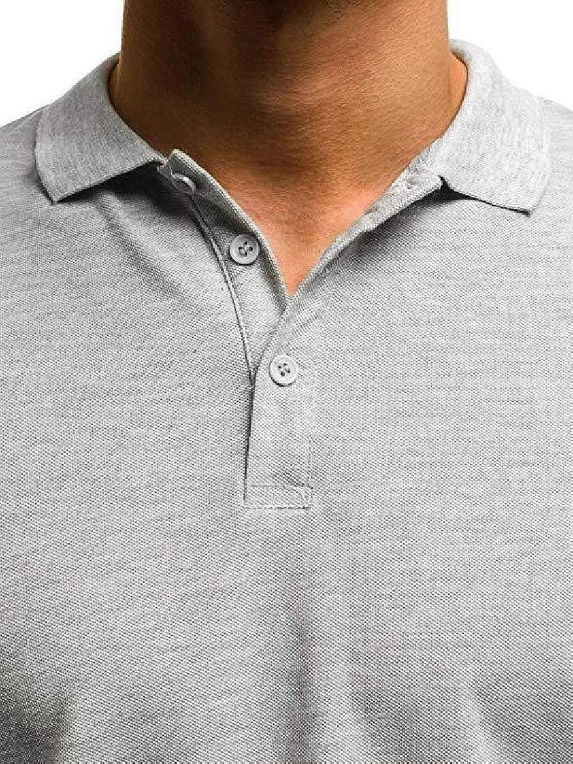 Mfasica Mens Plus Size Turn Down Collar Short Sleeve Pure Colour Tees Shirt