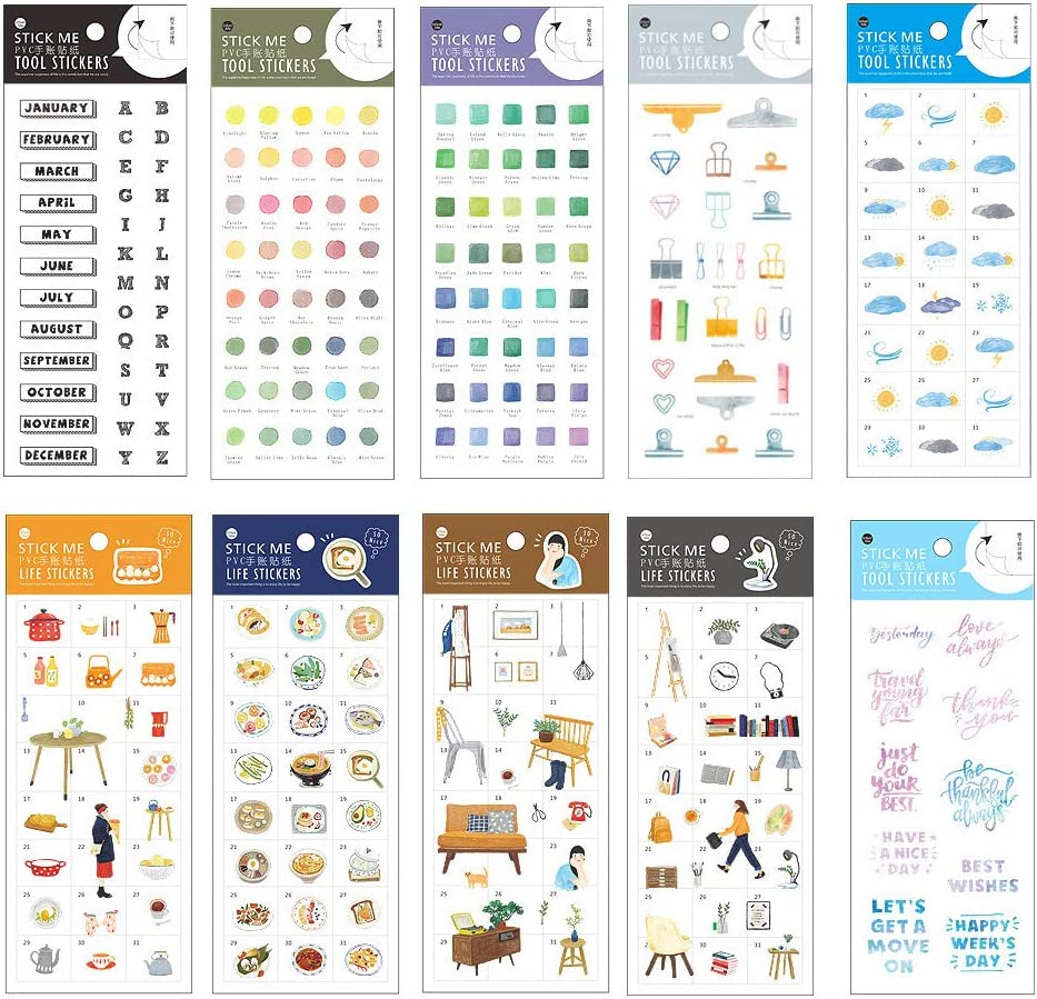 Stationery Sticker Set (10 Sheets) English Letter Colour Clip Weather Tableware Cooking Utensils Food Scrapbooking Planner Journal Diary Decorative DIY Craft Label (B)