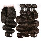 BLISSHAIR 7A Grade Human Hair Weave Extensions Br¨¦silien Hair Extension Perruque 3 Bundle trame + 1 lot de dentelle fermeture frontal
