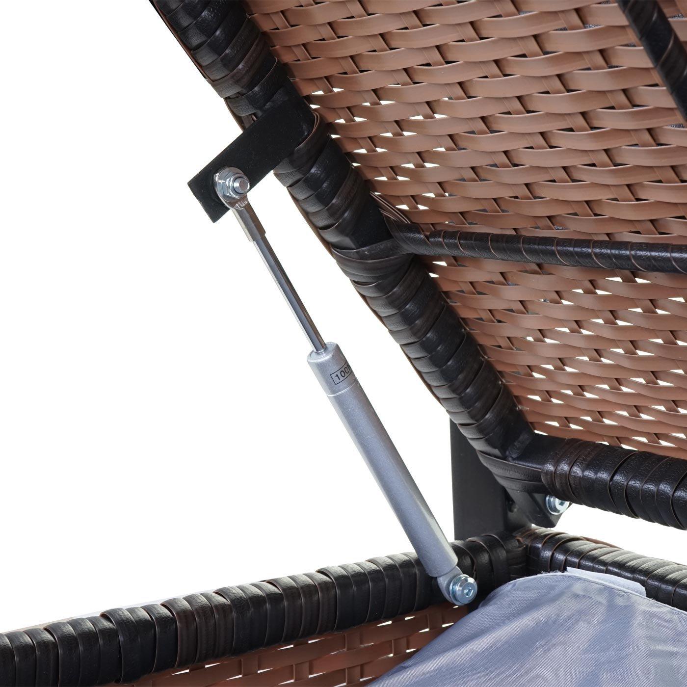 Mendler Divano Sofa Contenitore per lesterno HWC-F39 polyrattan ~ Marrone Cuscini Verde