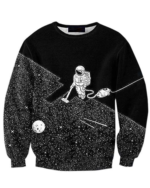 JOLIME Sudaderas Hombre Unisex 3D Impreso Astronauta Galaxia Suéter Cuello Redondo Jersey: Amazon.es: Ropa y accesorios