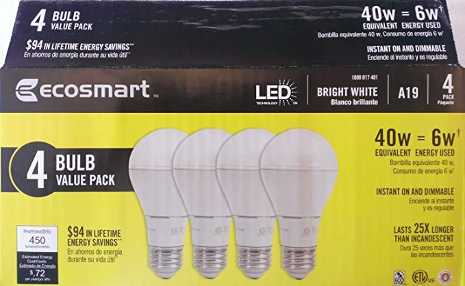 Ecosmart 40W Equivalent 3000K A19 LED Light Bulb, Bright White (4-Pack) - - Amazon.com