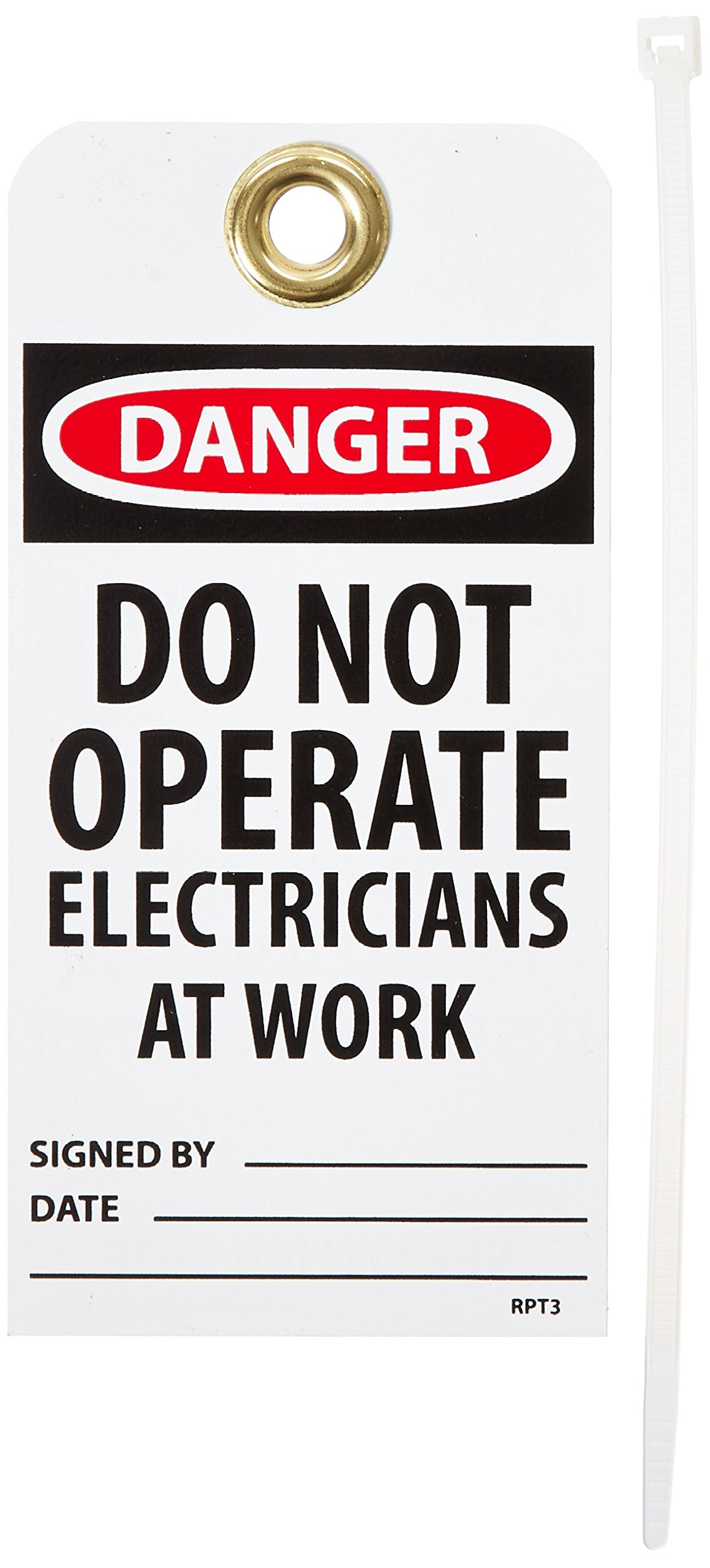 NMC RPT3G ''DANGER - DO NOT OPERATE ELECTRICIANS AT WORK'' Accident Prevention Tag with Brass Grommet, Unrippable Vinyl, 3'' Length, 6'' Height, Green, Black/Red on White (Pack of 25)