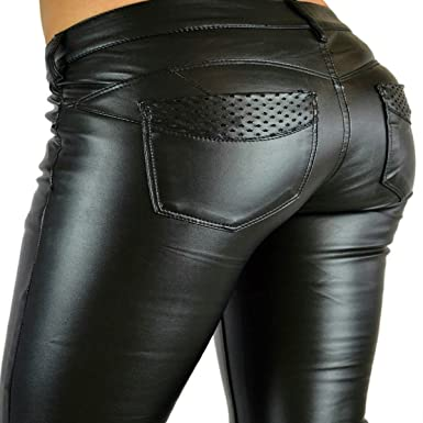 ghope pantalon jean cuir simili femme slim fit skinny push up sexy noir taille 34 36 38 40 42 44. Black Bedroom Furniture Sets. Home Design Ideas