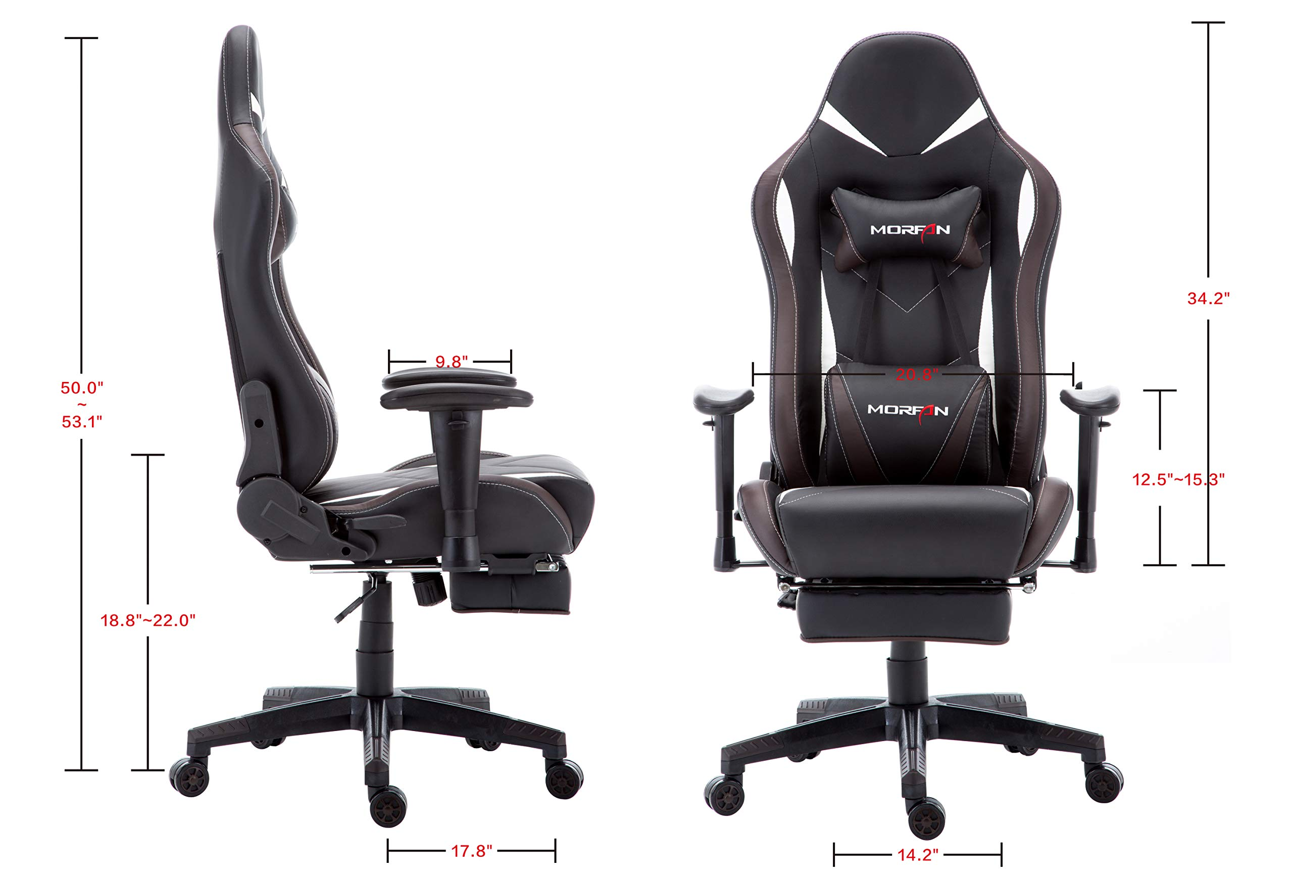 Morfan Gaming Chair Large Size Massage Function Ergonomic Racing Style PC Computer Office Chair with Retractable Footrest & Adjustable Lumbar and Headrest Pillows (Black/Brown) by MORFAN (Image #4)