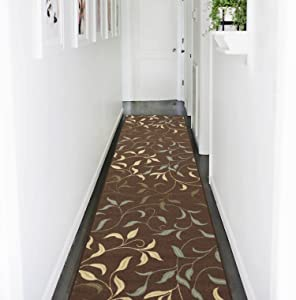 "Ottohome Collection Choclate Contemporary Leaves Design Modern Runner Rug With Non-Skid (Non-Slip) Rubber Backing (1'10""X7'0"")…"