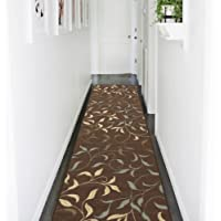 Ottomanson Otto Home Contemporary Leaves Design Modern Area Rug with Non-SkidRubber Backing