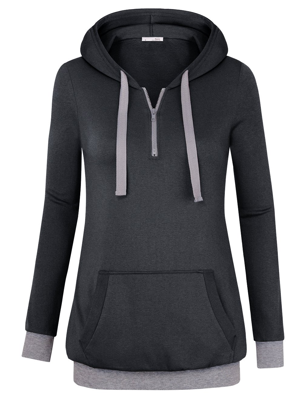 Messic Womens Zipper Hoodie, Ladies Basic Patchwork Long Sleeve Lightweight Thin Pullover String Sweater(Carbon Black,Small)