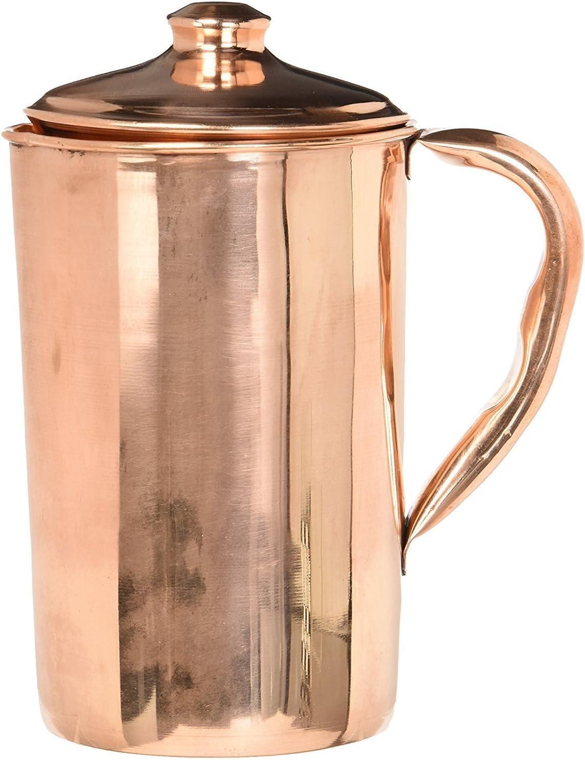 Indisch Reines Kupfer Wasserkrug Mit 2 Glas Krug Natürlich Ayurveda Yoga Haut