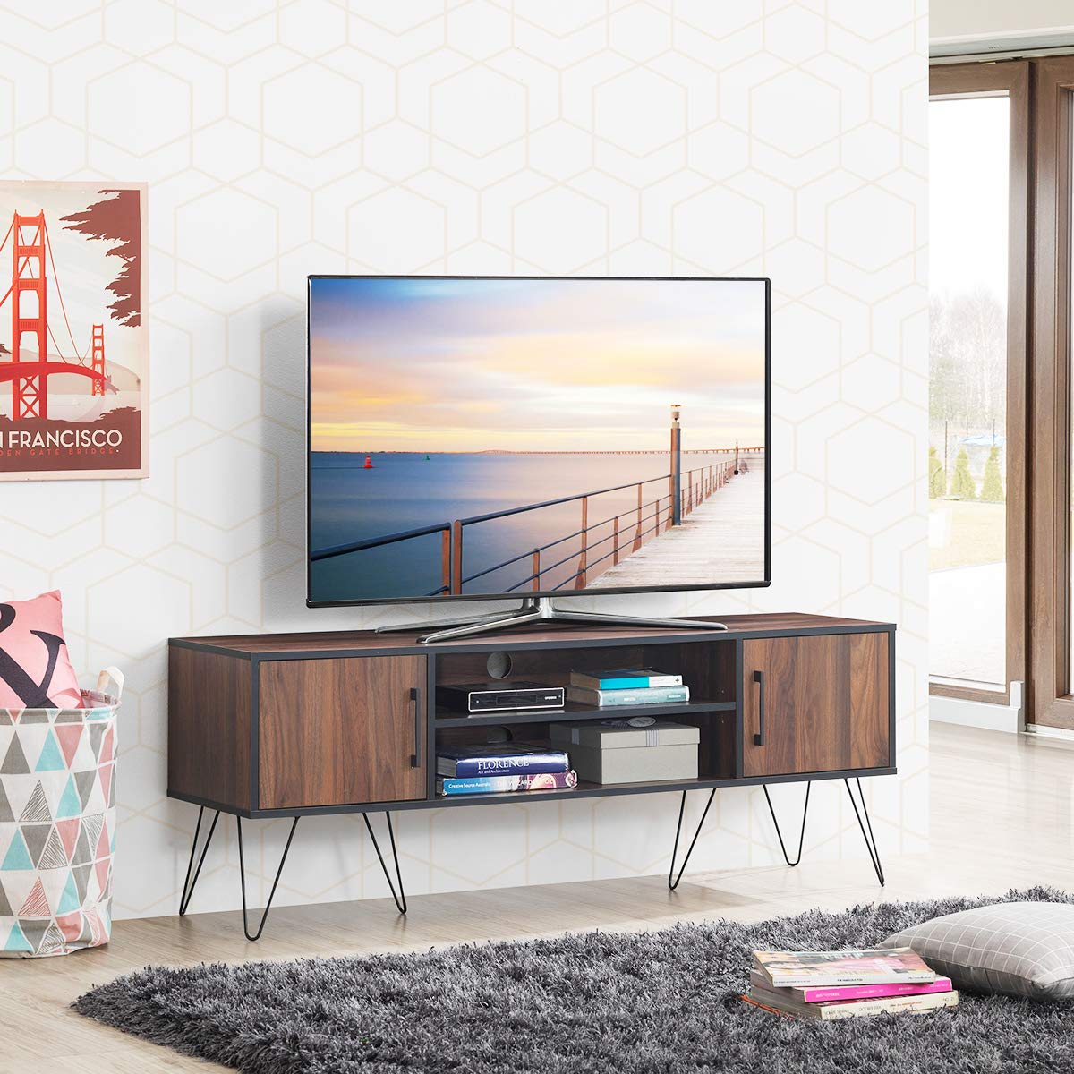 Tangkula Retro TV Stand, TV Console, Modern Entertainment Center for Flat Screen TV Cable Box Gaming Consoles, Media Console with Cabinet Doors Walnut