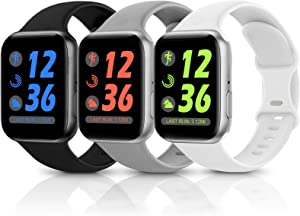 Sport Silicone Band Compatible with Apple Watch Bands 38mm 40mm 42mm 44mm,Soft Replacement Wristbands for iWatch Series 1/2/3/4/5/6/SE,Women Men,3 Pack(Black/White/Grey,42mm/44mm-S/M)