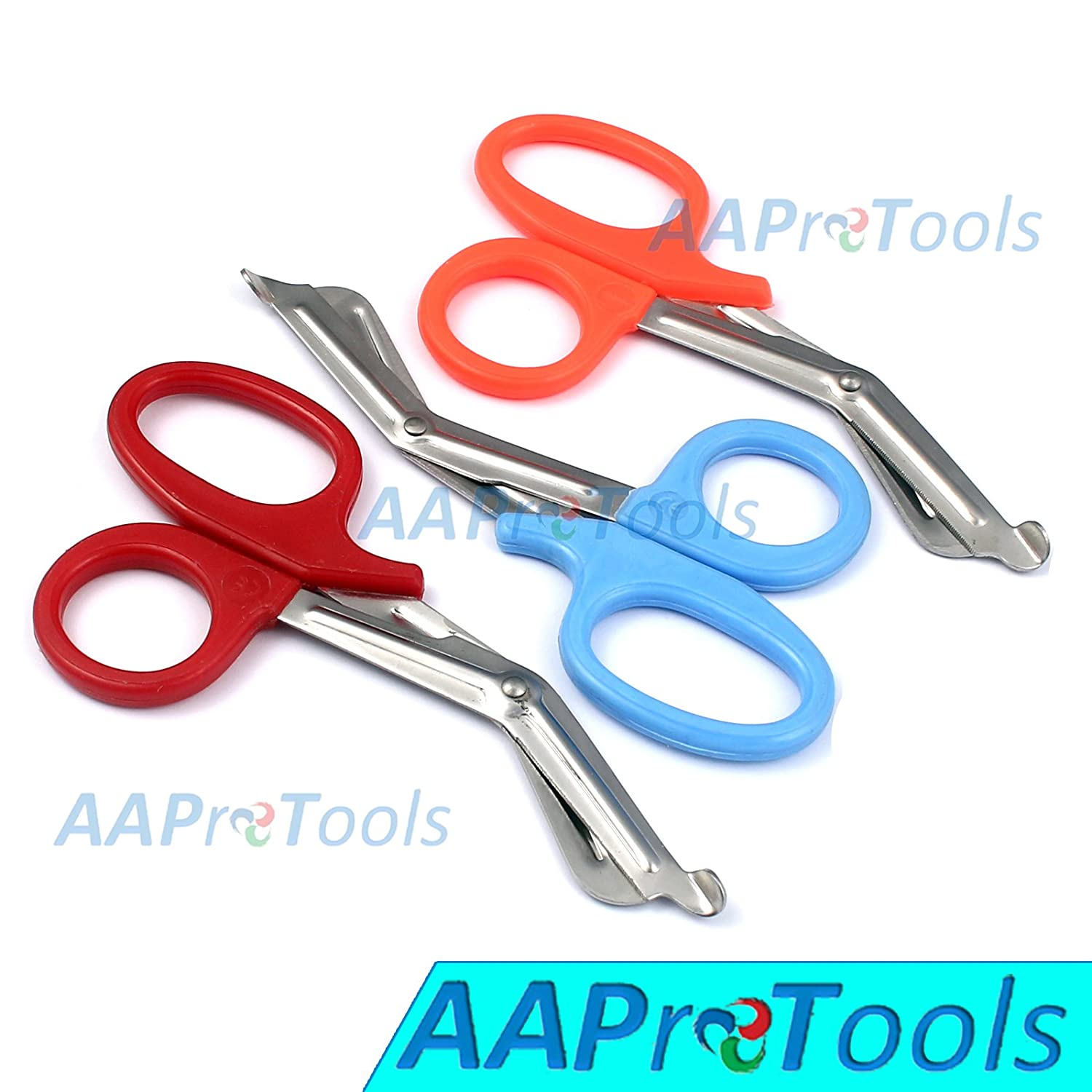 "AAPROTOOLS SET OF 3 ( ORANGE SKY BLUE RED ) TRAUMA PARAMEDIC EMT SHEARS SCISSORS 7.5"" A+ QUALITY"