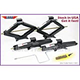 "Set of 4 5000 lb 24"" RV Trailer Stabilizer Leveling Scissor Jacks w/handle & Power Drill Socket -Model# 26020"