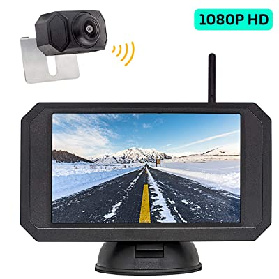 1080P HD Digital Wireless Backup Camera and 5 inch Monitor kit for Car/Truck/RV/Trailer/Vans License Plate Rear View Camera: Car Electronics