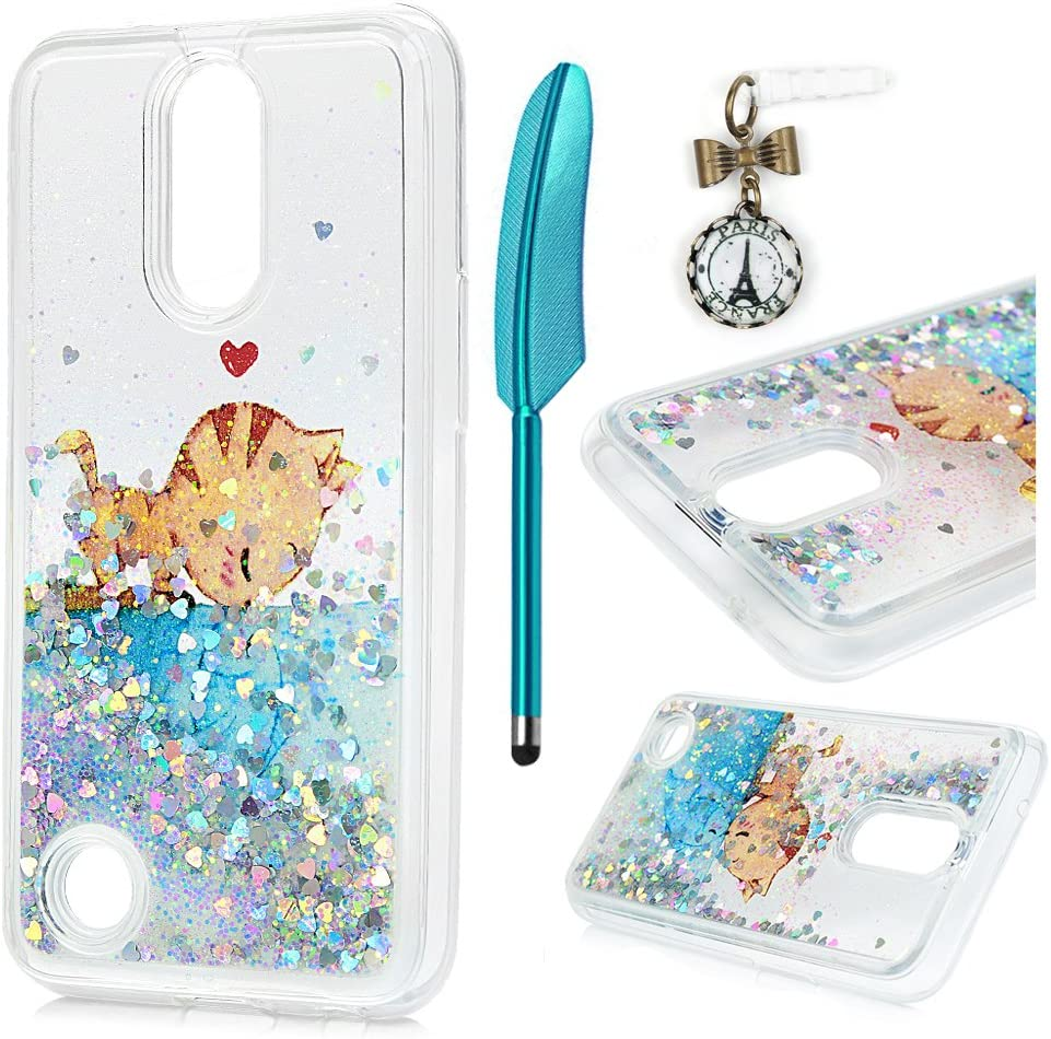 MOLLYCOOCLE LG K10 Case, Quicksand Liquid Case 3D Glitters Shiny Moving Stars Slim Fit TPU Shockproof Bumper Floating Dynamic Luxury Skin Cover Case for LG K10 2017, Cat Fish Love