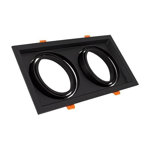 Aro Downlight Cuadrado Basculante para dos Bombillas LED AR111 Negro efectoLED