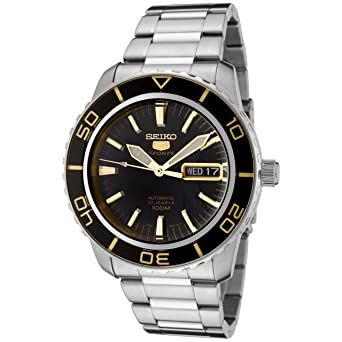 ab31254a6e6 Image Unavailable. Image not available for. Color  Seiko Men s SNZH57 Seiko  5 Automatic Black Dial Stainless Steel Watch