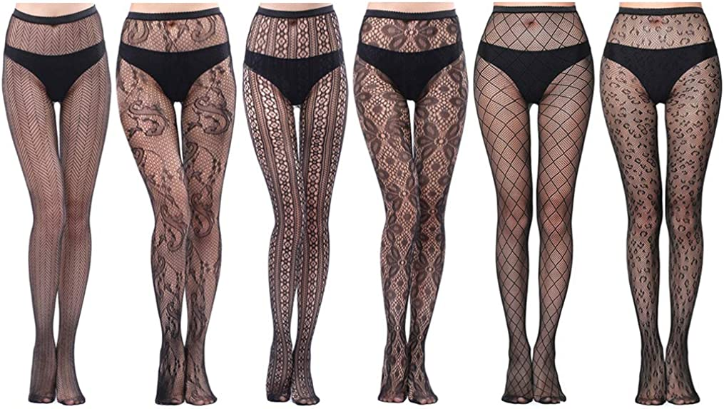HOVEOX 6 Pairs Lace Patterned Tights Fishnet Floral Stockings Small Hole Pattern Leggings Tights Net Pantyhose: Clothing