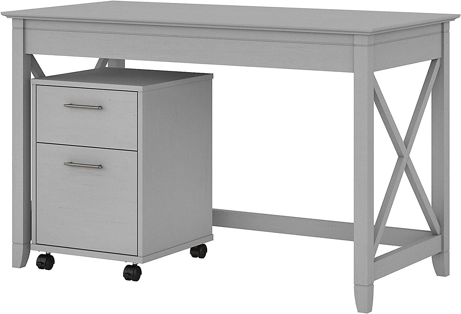 Bush Furniture Key West Writing Desk with 2 Drawer Mobile File Cabinet, 48W, Cape Cod Gray