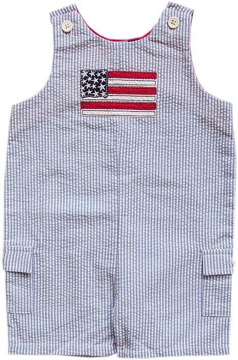 4T Toddler Boys Good Lad $56 4pc Seersucker Shortall Suit Size 2T