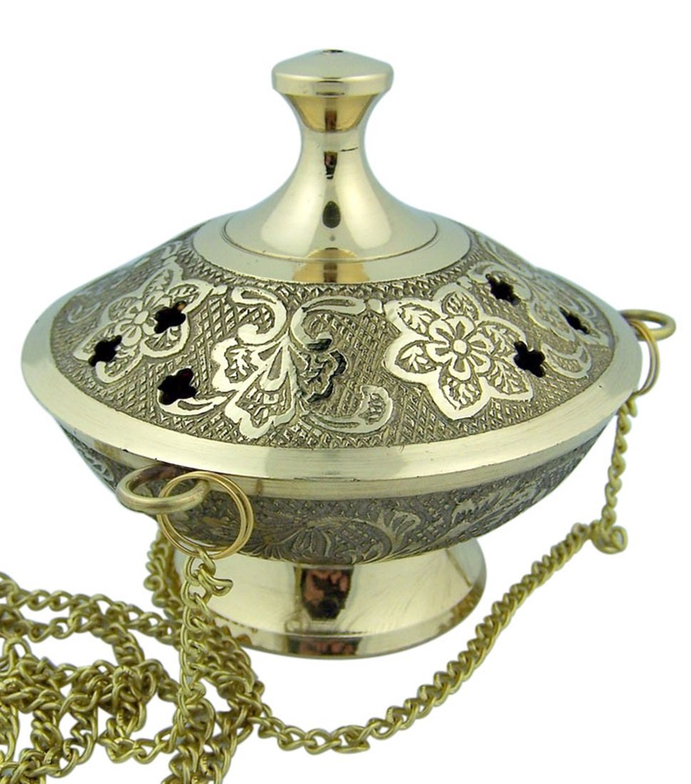 Charcoal Incense Burner Gold Tone over Brass Hanging Censer with Chain by Religious Gifts (Image #2)