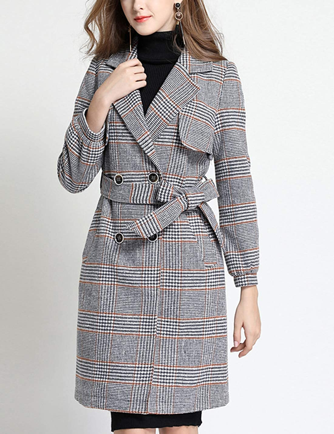 Springrain Womens Double Breasted Wool Blend Plaid Long Pea Coat with Belt