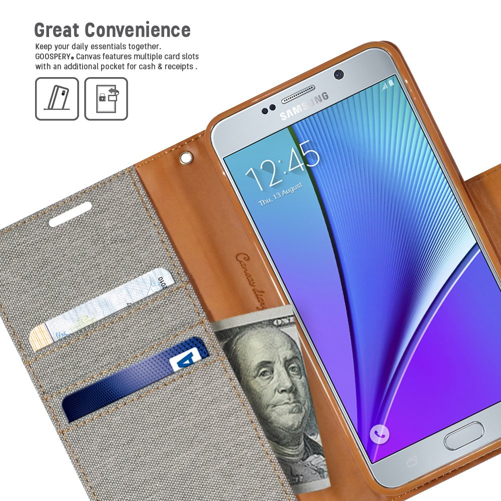 Galaxy Note 5 Case Drop Protection Goospery Canvas Samsung S6 Diary Denim Material Wallet Id Credit Card And Cash Slots With Stand Flip Cover