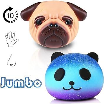 Jumbo squishies Pack 2 Unidades Jumbo – (Panda y Pug Perro), Lento ...