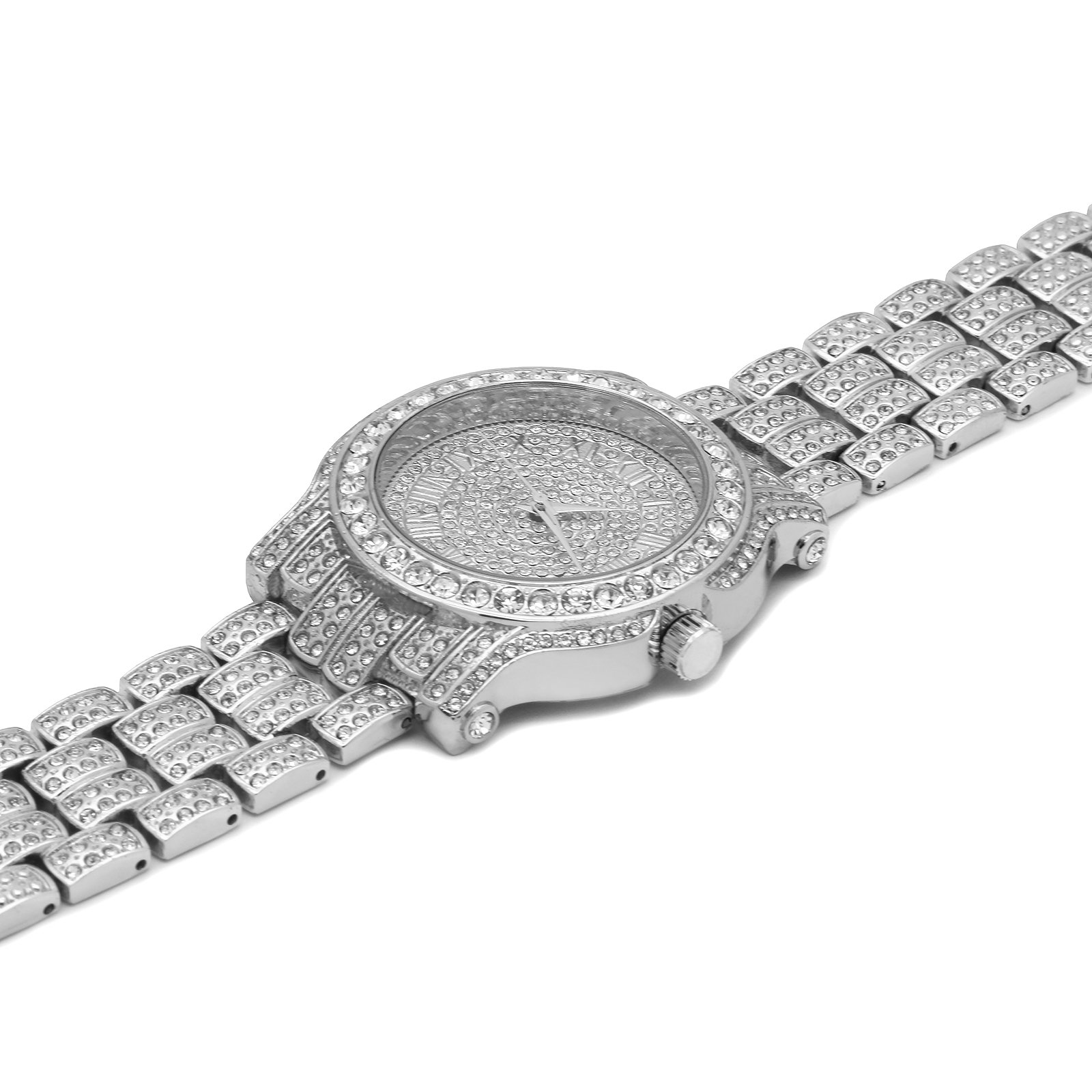 Iced Out Pave Silver Tone Hip Hop Men's Bling Bling Silver Metal Band Watch Watches by Technoking (Image #2)