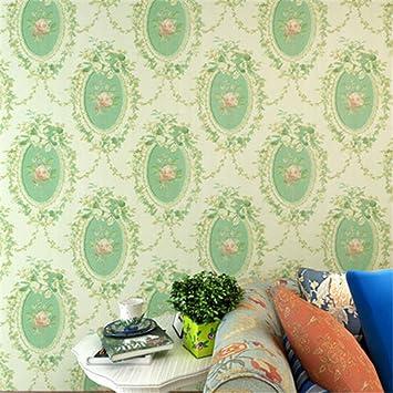 10m Ländlichen Geprägt Beflockung Damast 3D Blume Vliestapete Zimmer Deko  Tapete Rolle (Grün)