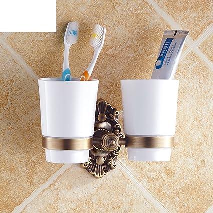 Las tazas de cerámica antiguos europeos/ Todo el cepillo de dientes de cobre traje portavasos