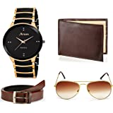 ARUM Analogue Black Dial Boy's & Men's Watch With Brown Wallet & Sunglass With Belt (Awwsgb-008)