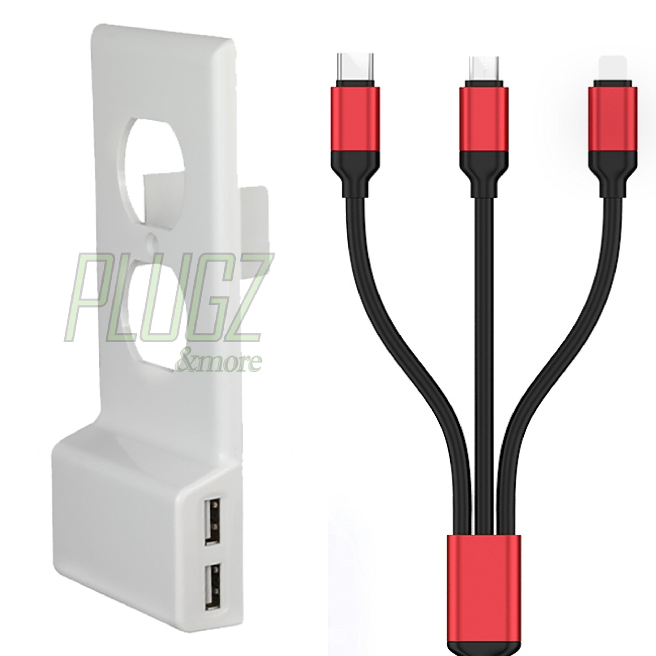 USB Outlet Wall Plate Cover Upgrade Installs Over Outlet, with 3 in 1 USB charging cable, Dual Charging Ports for Cellphones, Tablets, Androids, Power Banks & Fire Sticks (White) by PLUGZ and more