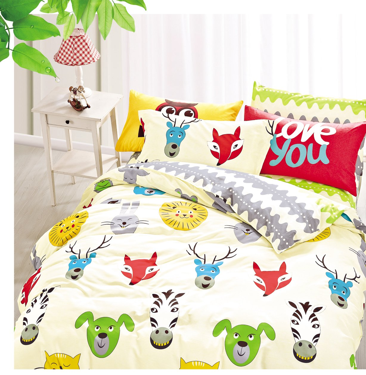 Cliab Animal Print Bedding King Size Lion Fox Zebra Dog Rabbit Cat Duvet Cover Set